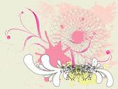 Grunge pink floral ornament — Vecteur
