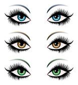 Woman eyes in different color — Stock Vector