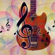 Funky music background with guitar — Stock Photo #17581731