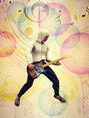 ファンキーなギタリスト — ストック写真