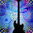 Funky music background with guitar — Stock Photo
