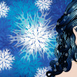 Winter girl with snowflakes - Photo