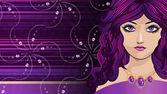 Girl with long purple hair — Stock Photo