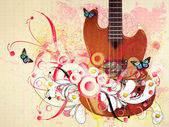 Floral guitar — Stock Photo