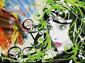 Illustration de fille grunge printemps — Photo