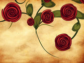 Roses on grunge paper — Stock Photo