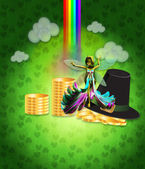 St Patricks day design with fairy — Foto Stock
