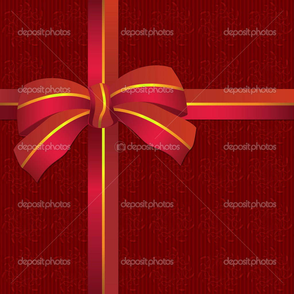 Illustration of shiny red ribbon bow on red background — Stock Photo #17826279