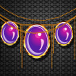 图库照片: Purple jewelry on gray background