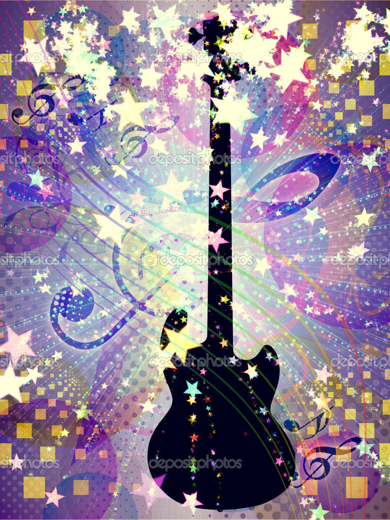 Illustration of abstract colorful funky musical background with guitar. — Stock Photo #17998839