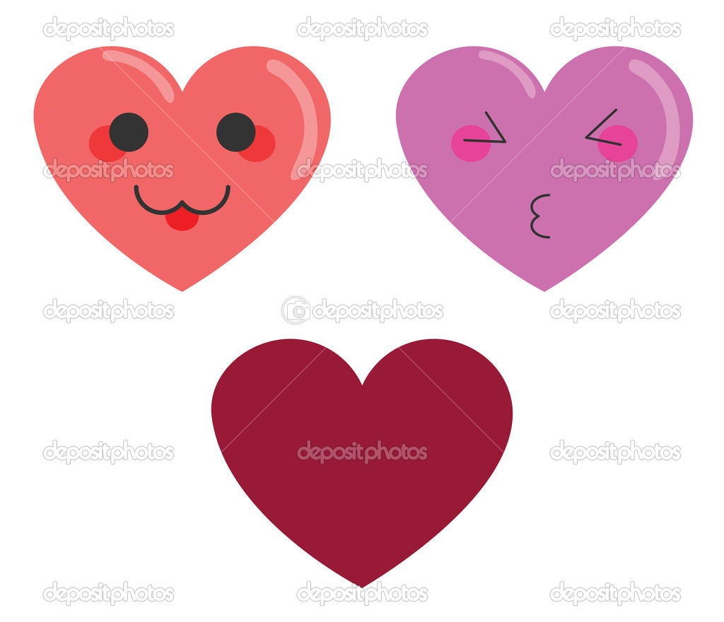 Illustration of cute cartoon hearts with faces on white background. — Stock Vector #18100901