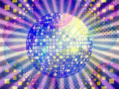 Funky music background with dico ball — Stock Photo