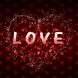 Red hearts pattern love word — Stock Photo