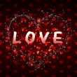 Stock Photo: Red hearts pattern love word