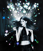 Dancing girl on stars background — Stock Photo
