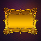 Golden plate on purple background — Stock Photo