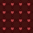 Dark red hearts pattern — Stock Vector