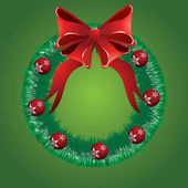 Christmas wreath with red bow — Stockvektor