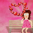 Cartoon girl with hearts on grunge background — Stock Photo