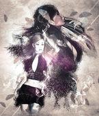 Girl with ravens manipulation — Stock Photo
