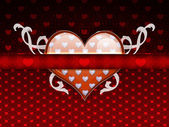 Red pattern with big heart — 图库照片