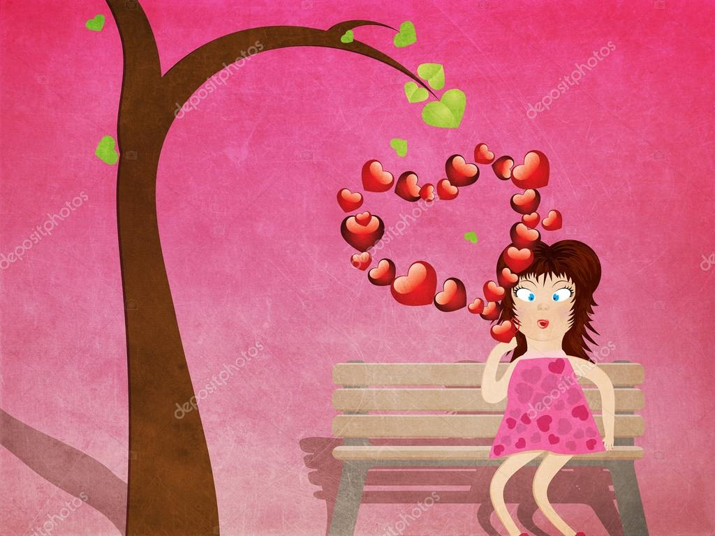 Cartoon girl in pink dress on bench with red heart shaped bubbles grunge illustration. — Stock Photo #18493757