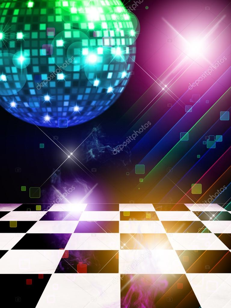 Illustration of dance floor with disco mirror ball and stars background. — Stock Photo #18493793