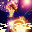 Girl on dance floor — Stock Photo