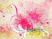 Grunge spatters and floral ornament background — Stock Photo