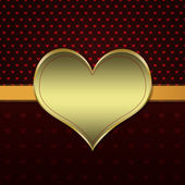 Red pattern with gold heart — Photo