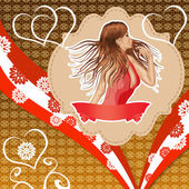 Girl in red dress on vintage background — Stock Photo