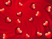Glossy red hearts background — Stock Photo