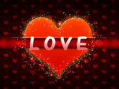 Red pattern with heart and love word — Stock Photo