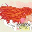 Floral portrait of red haired girl - Stock Vector