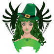 Stock Vector: Leprechaun lady in green hat
