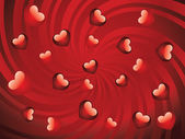 Glossy red hearts — Stock Vector