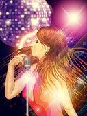 Girl with retro microphone — Stock Photo
