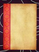 Folha de papel com laço rosa — Fotografia Stock