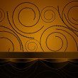 Swirls from circles on yellow background - Stock Photo