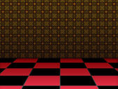 Retro room with checkered floor — Stock Photo