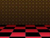 Retro room with checkered floor — ストック写真