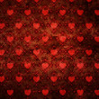 Grunge red pattern with hearts - Stockfoto