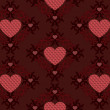 Stock Vector: Dark red hearts pattern