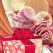 Stock Photo: Holiday background with gift box and roses