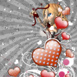 Red hearts and cupid on gray background — 图库照片