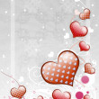 Stock Photo: Red hearts on gray background