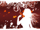 Female silhouette with hearts and floral — Fotografia Stock