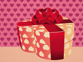 Heart shaped pink gift box — Stock Photo
