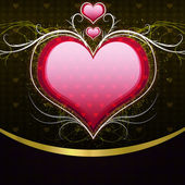 Pink heart and floral — Stock Photo