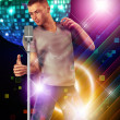 Dancing guy with microphone — Stock Photo